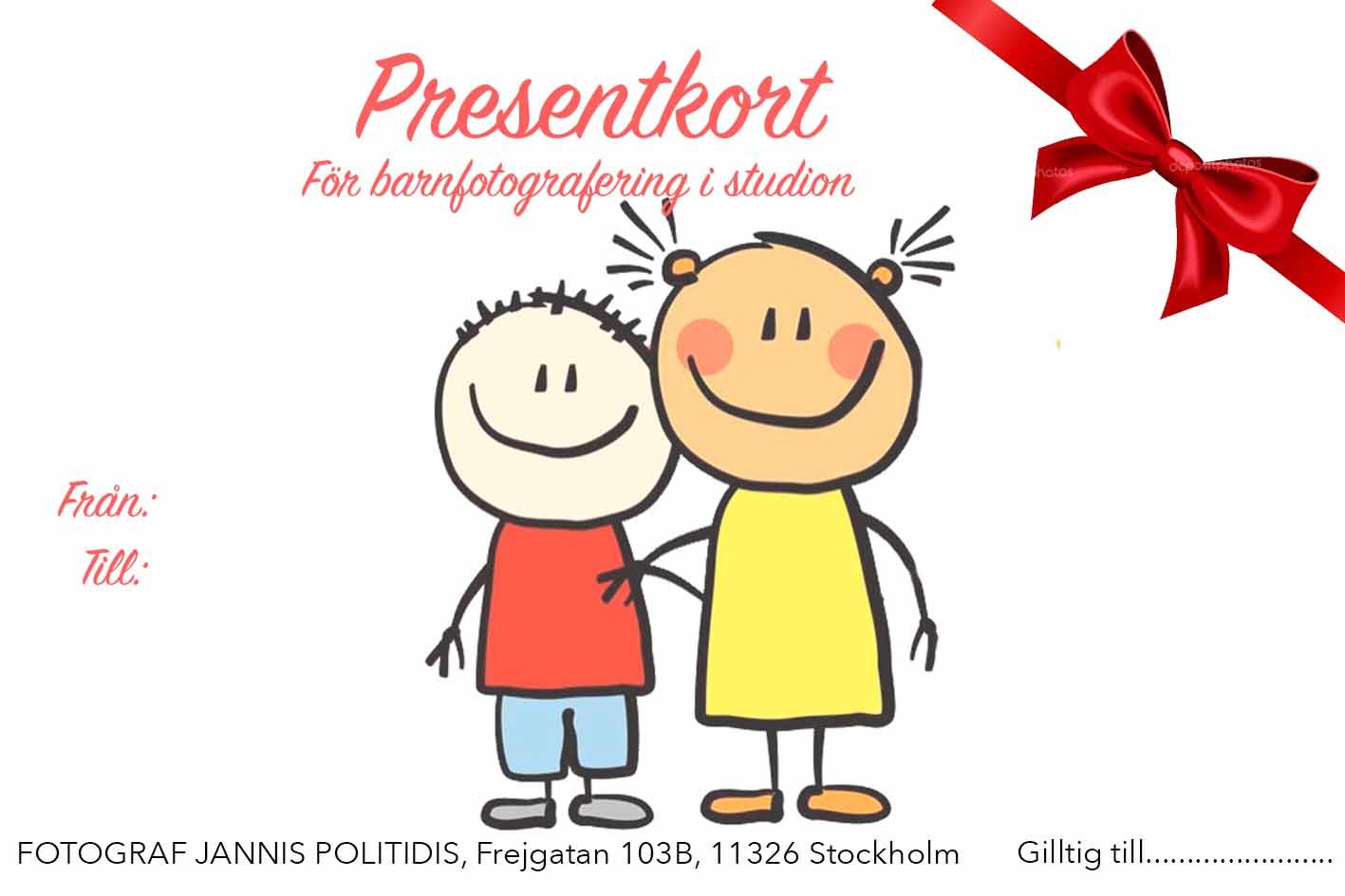 Barnfotografering presentkort